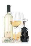 White wine, cheese and corkscrew Royalty Free Stock Images