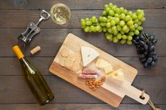 White Wine with Cheese royalty free stock photography