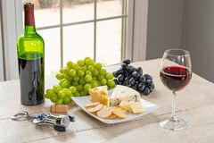 White Wine with Cheese royalty free stock photos