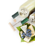 White wine, cheese and grape Stock Photo