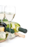 White wine, cheese and grape Royalty Free Stock Photo