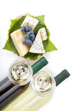 White wine, cheese and grape Royalty Free Stock Images