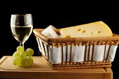 White wine with cheese and grape Stock Photo