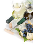 White wine, cheese and grape Royalty Free Stock Photography