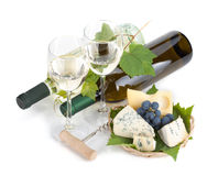 White wine, cheese and grape Royalty Free Stock Photos