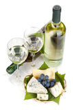 White wine, cheese and grape Stock Photos