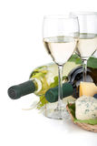 White wine, cheese and grape Stock Image