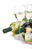 White wine, cheese and grape Stock Image