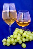 White wine and cognac. With grape Royalty Free Stock Photography