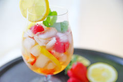 White wine cooler with fruit and mint Stock Photo