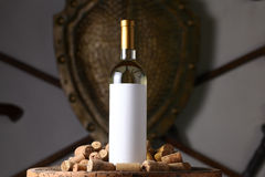 White wine with corks Royalty Free Stock Photos