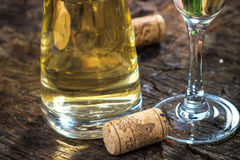 White wine and corks Royalty Free Stock Photo