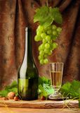 White wine with drapery royalty free stock image