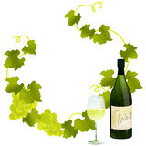 White wine frame. By watercolor paint touch vector illustration