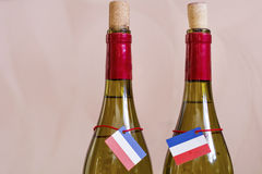 White wine french bottles Royalty Free Stock Images