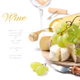 White wine with French cheese selection Royalty Free Stock Photography