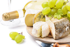 White wine with French cheese selection Stock Images