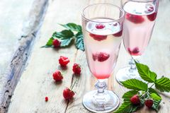 White wine with fresh raspberries. Raspberry cocktail Royalty Free Stock Photo