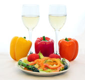 White Wine and Fresh Veggies Stock Image