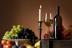White wine and fruit still-life Stock Images