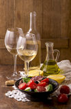 White wine and fruits Stock Photos