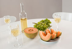 White wine with fruits Stock Image
