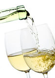 White wine in a glass. Two glasses of wine isolated on white background Royalty Free Stock Photo