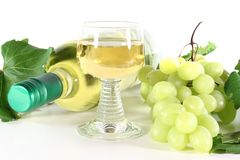 White wine with glass Royalty Free Stock Photo