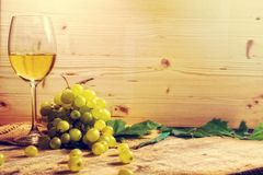 White Wine Glass And Grapes Stock Image