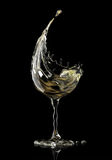 White wine glass on black background. 3d rendering Royalty Free Stock Photo