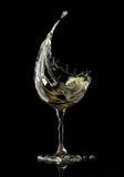 White wine glass on black background Royalty Free Stock Photo