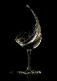 White wine glass on black background. 3d rendering Royalty Free Stock Images