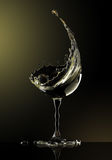 White wine glass on black background. 3d rendering Stock Photo