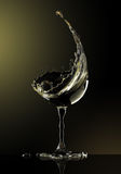White wine glass on black background. 3d rendering Stock Photography