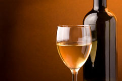 White wine  glass and bottle Royalty Free Stock Image