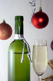 White wine glass bottle Stock Photos