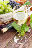 White wine glass, bottle and grapes Royalty Free Stock Images