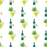 White Wine and Green Grapes Bunch Seamless Pattern. White wine in glass and bottle, green grapes bunch vector illustrations formed in endless texture. Alcohol Stock Photography