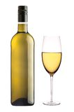 White wine glass and bottle of wine isolated on white Royalty Free Stock Photo