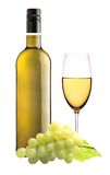 White wine glass and bottle of wine isolated on white Stock Photography