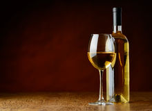 White wine in glass and bottle Royalty Free Stock Photography