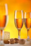White wine glass and cheese Stock Photos
