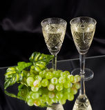 White wine in glass with grape Stock Photo