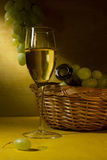 White wine in a glass and grapes Stock Photos