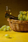 White wine in a glass and grapes Royalty Free Stock Photo