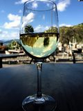 White Wine and Glass reflecting the Natural Surroundings. Glass of New Zealand White Wine sitting on a table reflecting the natural surroundings of trees, blue stock images