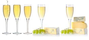 White wine glass set Royalty Free Stock Photo