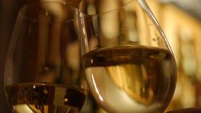 White wine glass for tasting or degustation in the cellar. stock video