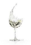 White wine glass on a white background Royalty Free Stock Photo