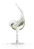 White wine glass on a white background stock photos